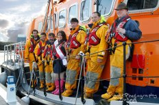 RNLI crew and Dublin Rose hopeful on the lifeboat